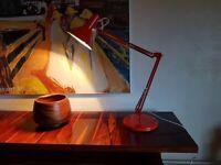 VINTAGE MID CENTURY DANISH DESIGN ALL ORIG ADJUSTABLE HEAVY BASE ORANGE ANGLEPOISE LAMP GWO