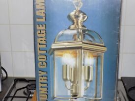 Solid Brass Country Cottage Ceiling Lamp on chain (New/Boxed) **£40**