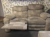 2 seater recliner sofa with storage foot stool