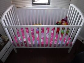 White large cot and matching baby changing unit