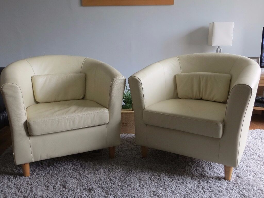 Pair of ikea tullsta tub chairs in cream leather in for Ikea tullsta