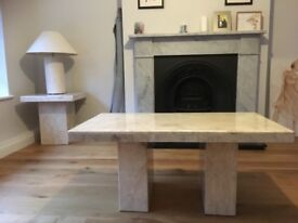 Matching solid marble coffee table and side table
