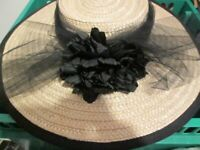 Large Unusual Straw Hat with Black bow & Flower Detail - Made In Italy