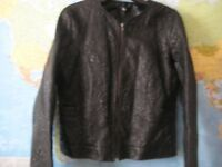 EMBOSSED FAUX LEATHER JACKET - KLASS - SIZE 16 - AS NEW