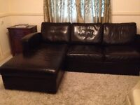 Leather Couch / Sofa with fold-out bed