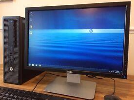 HP ProDesk 400 G1 / i3 4th.Gen. 3.4Ghz / 8GB Ram / 500GB / USB 3.0 + Dell Monitor Desktop Computer