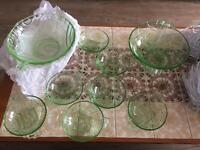 Art Deco Vaseline/uranium glass collection