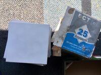 Box of 25 Unused White Square Tiles - 20cm x 20cm