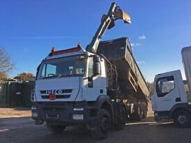 IVECO TRAKKER 8 WHEEL TIPPER WITH CRANE AND GRAB BUCKET 2008 MOT AUTOMATIC VERY GOOD CONDITION