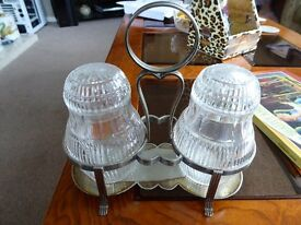 Quality Cut Glass Condiment Set - no damage