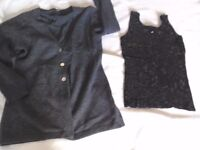 Black evening top with square Sequins on. Size small + FREE cashmere cardigan size 8