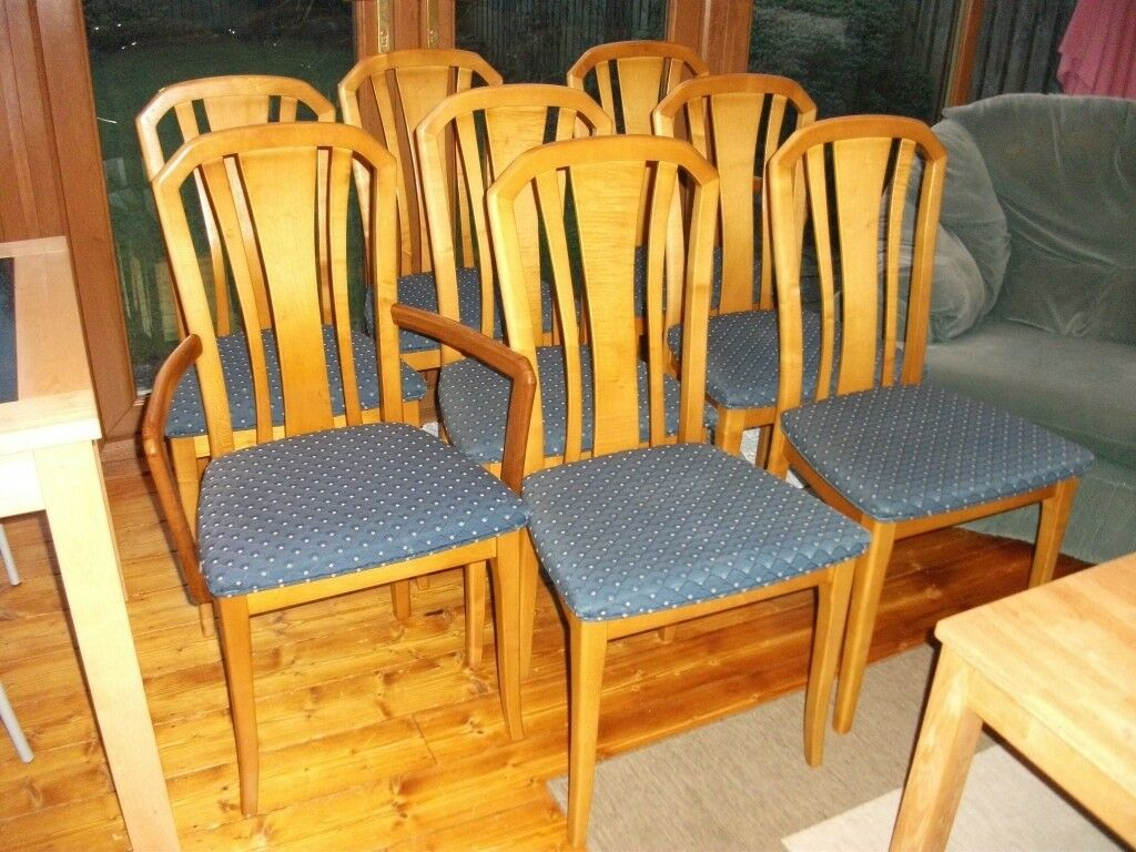 8 Dining Chairs - 6 Chairs plus 2 Carvers - Solid Wood
