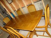 REDUCED Vintage Oak Dining Table Set, 4 Side & 2 Captains Chairs