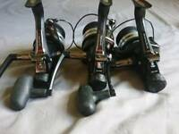 3 Daiwa regal 4500bri baitrunner reels with spare spools