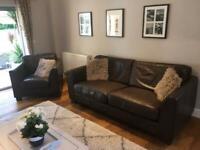 Brown leather 3/4 seat sofa plus single chair