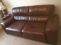 FOR SALE Beautiful Italian Leather Sofa and Chair. Excellent condition & Fire Resistant