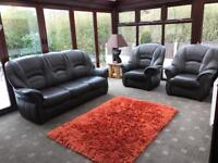 Immaculate Brown Leather 3 Seater Sofa + 2 Armchairs Cost £1800