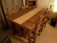 Solid Pine Dining Table Dining Table and 4 Chairs
