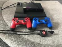 PlayStation 4 with two controllers and camera.