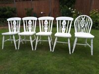 Shabby Chic Painted Country Style Chairs - 7 Chairs £140 or £25 each