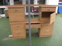 Oak Melamine Dressing Table and Bedside Cabinets