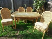 Cane And Rattan Dining Table And 4 Chairs