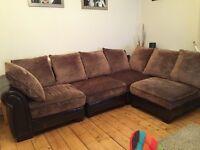Reid brown/cream corner sofa