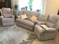 Reclining three piece suite