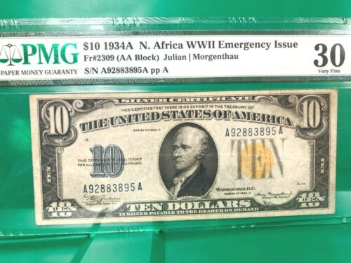 1934A NORTH AFRICA $10 (AA BLOCK) WWII EMERGENCY ISSUE  PMG 30 Q2LU