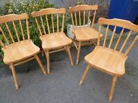 4 Pine kitchen chairs can deliver locally