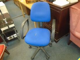 modern blue desk chair.