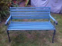 Wrought iron ended garden bench