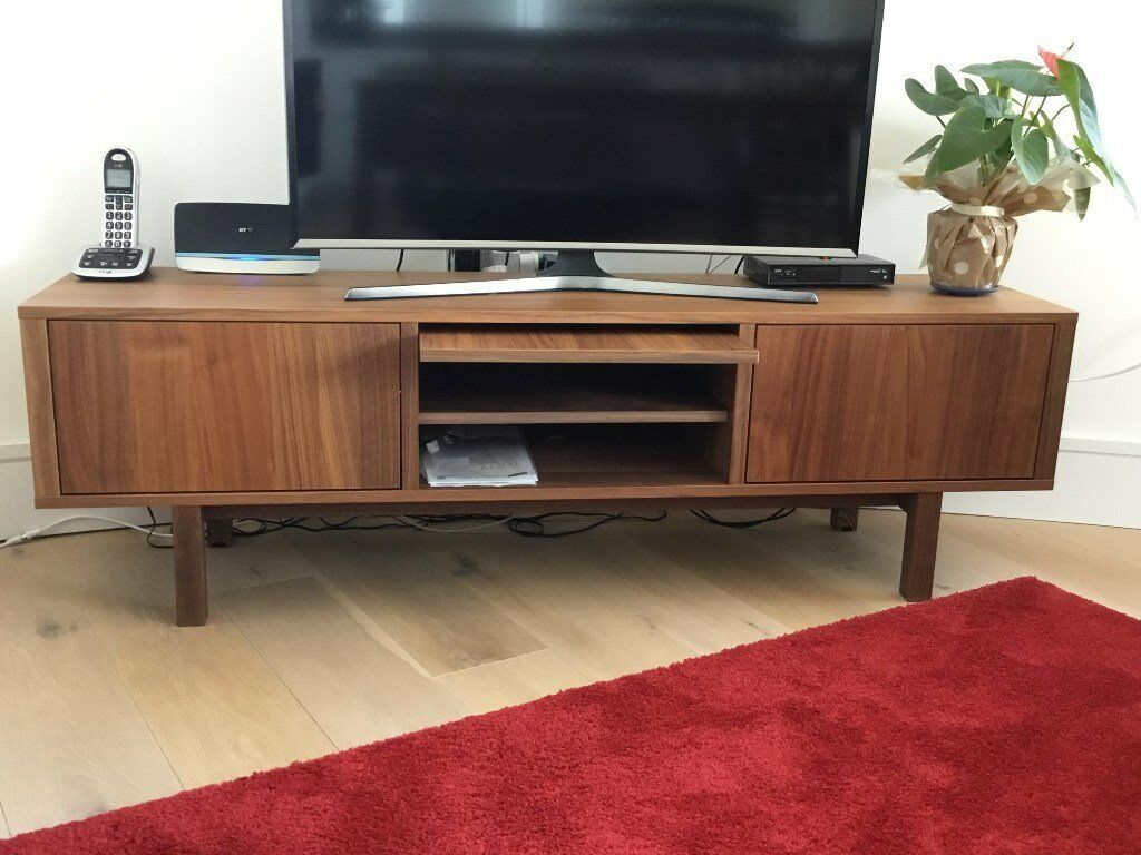 ikea stockholm tv bench in walnut veneer in london gumtree. Black Bedroom Furniture Sets. Home Design Ideas