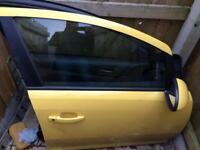 2010 Vauxhall corsa ltd edition model yellow complete drivers door with wing mirror