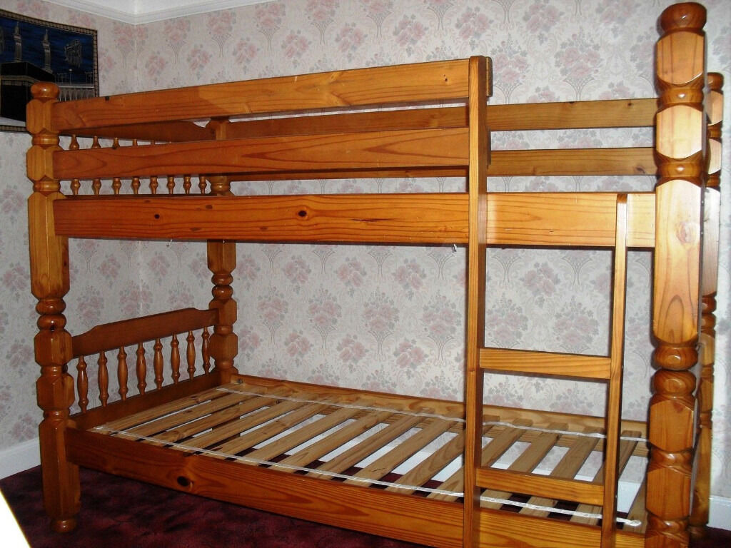 Used Pine Wooden Bunk Bed With 2 Single Sprung Mattresses In