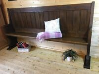 Solid oak dining bench narrow Settle bench church pew hall seat old wooden oak pew monks bench