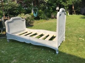 Old painted antique single bed chalk grey 3ft standard