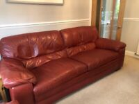 Red Leather three piece suite £150