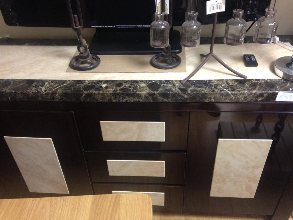 Crema and mocha side board marble EFFECT