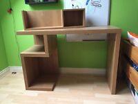 Oak Effect Desk and Shelf