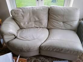 White leather sofa