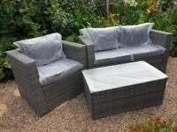 3 Seater Rattan garden furniture set (2 seater sofa, 1 seater chair, coffee table)