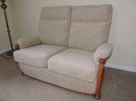 As New 2 Seater Sofa/Fabric Boucle Jute/Maple Wood. £300.