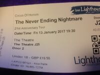 Circus of Horrors, The Never Ending Nightmare, 1 Ticket Lighthouse Poole, Friday 13th January