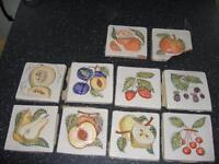 Feature Cermic Italian Tiles - Cream with Heavily embossed coloured fruits - 10 off (2 damaged)