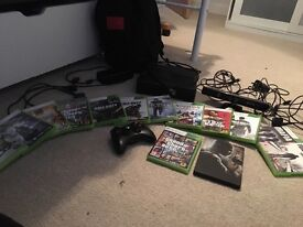 Xbox 360 14 games with all cables, controller, charging kit and Kinect .