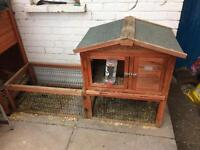 Small rabbit/guinea pig hutch with built in run