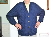 """BRAND NEW – HAND KNITTED - GENT'S ARAN KNITTED CARDIGAN - SIZE 40"""" -42"""" CHEST TWO VERY DEEP POCKETS"""