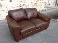 2 SEATER BROWN LEATHER SOFA, SETTEE, COUCH, WAITING, LIVING, STAFF ROOM