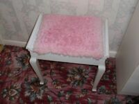 White wood piano stool